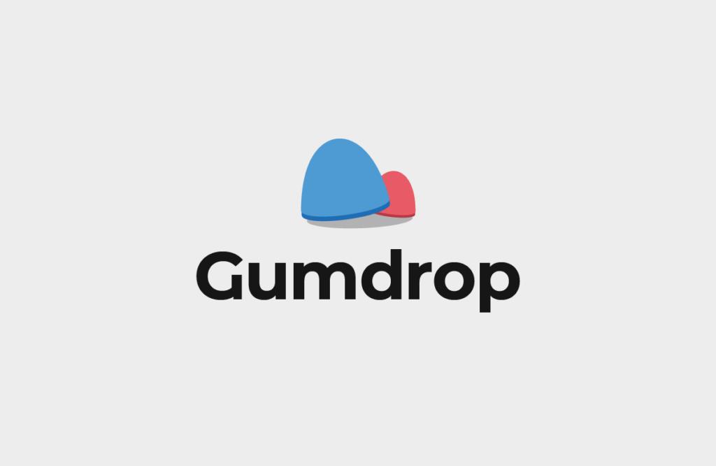 (Logo) Two gumdrop candies next to each other, slightly overlapped, text below reads: Gumdrop.