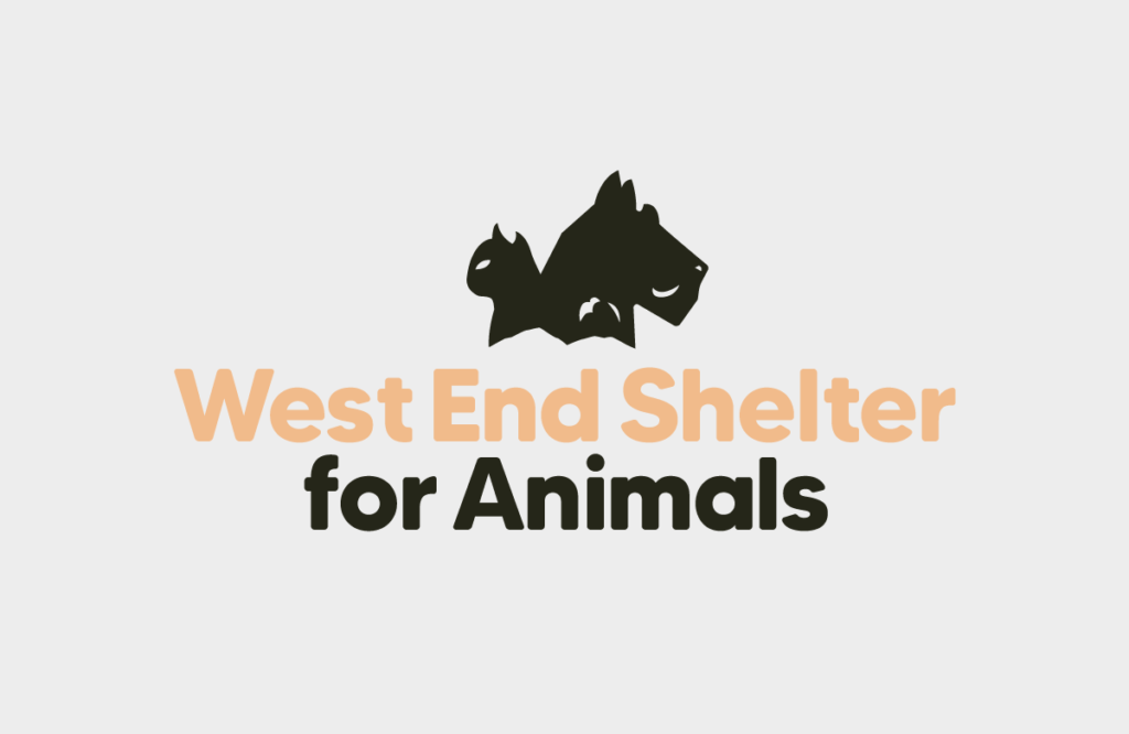 (Logo) Silhouette of cat and dog facing away from each other, text below reads: West End Shelter for Animals
